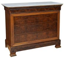 FRENCH CHARLES X BURL FINISH MARBLE TOP COMMODE
