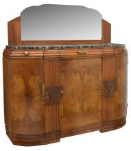 FRENCH ART DECO CARVED WALNUT MARBLE TOP SIDEBOARD