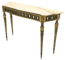 ITALIAN LOUIS XVI STYLE GILT MARBLE CONSOLE TABLE