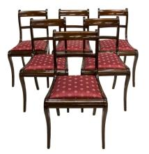 (6) REGENCY STYLE STRING INLAID SIDE CHAIRS