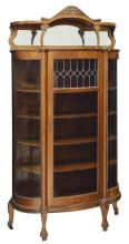 AMERICAN CURVED & LEADED GLASS CHINA CABINET
