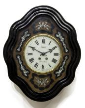 NAPOLEON III EBONZIED & INLAID LONGA WALL CLOCK