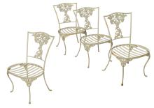 (4) PAINTED FLORAL IRON GARDEN CHAIRS