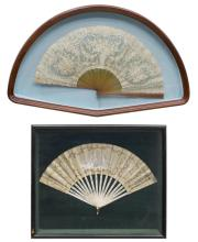 (2) HAND-PAINTED SILK & LACE FANS SHADOWBOX FRAMES