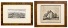 (2) FRAMED ITALY ETCHINGS, MILAN & PIEDMONT CASTLE
