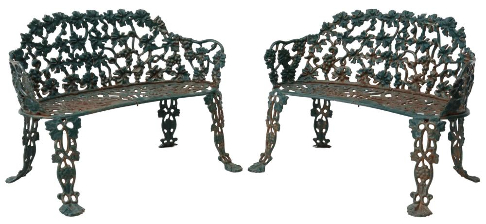 (2) PAINTED CAST IRON GRAPEVINE GARDEN BENCHES
