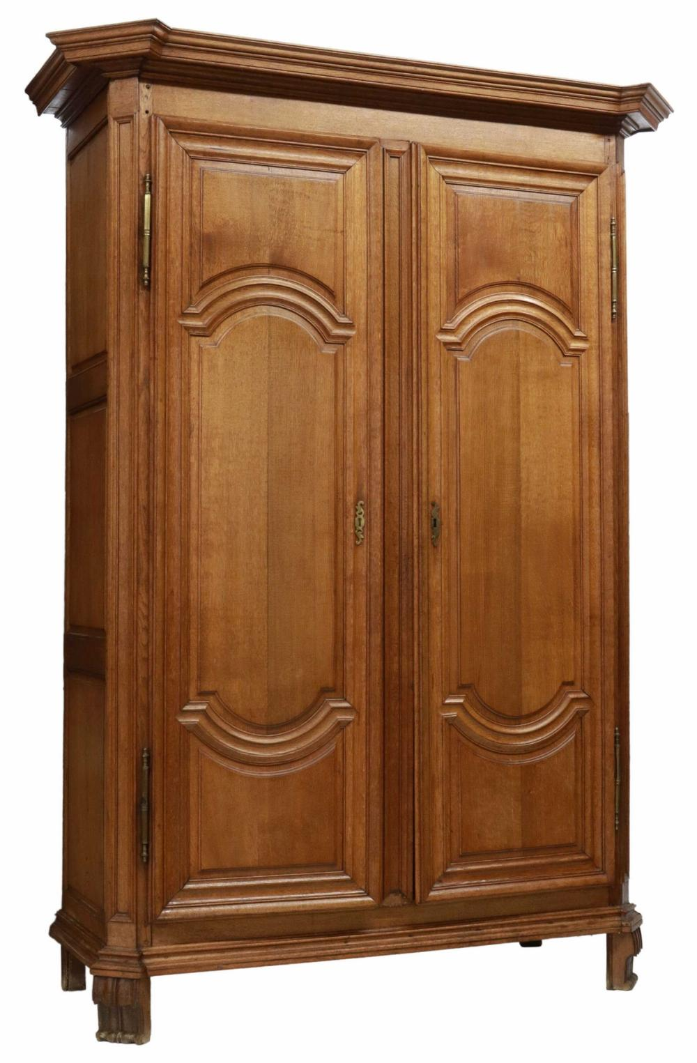 """FRENCH PROVINCIAL OAK ARMOIRE, 19TH C., 101.5""""H"""