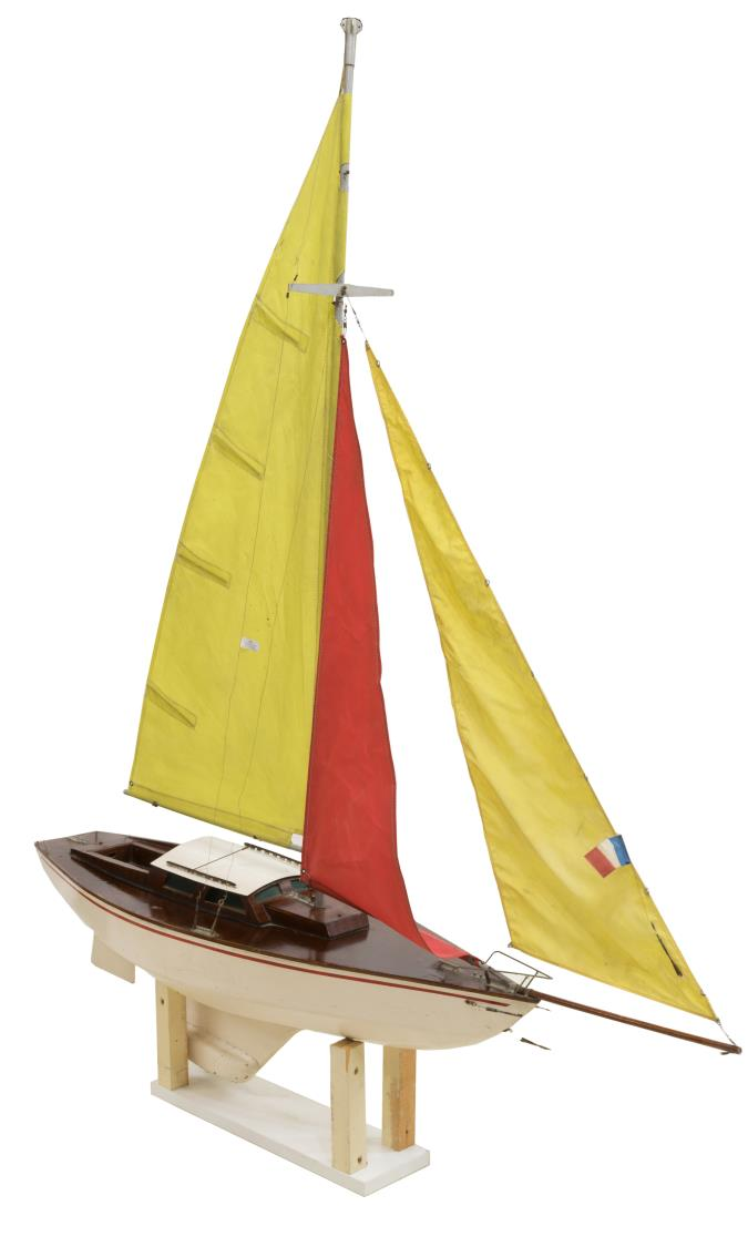 VINTAGE FRENCH MODEL SAILBOAT ON STAND