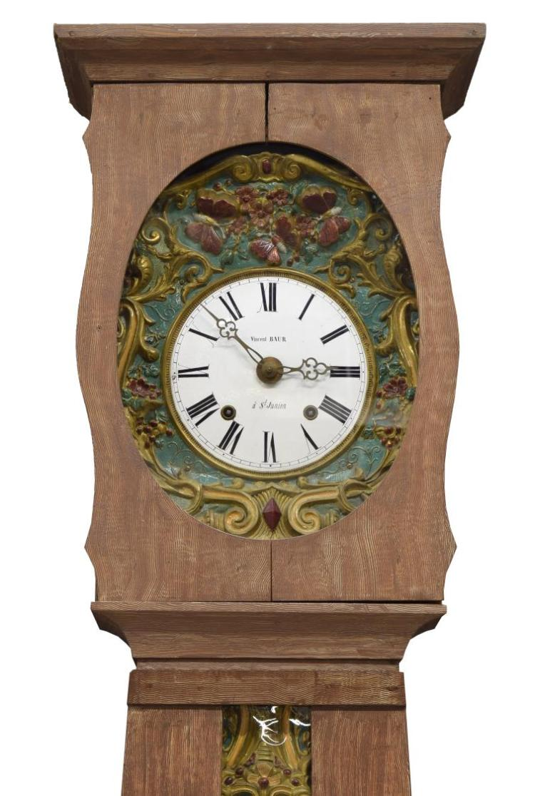 FRENCH MORBIER STANDING LONG PINE CASE CLOCK