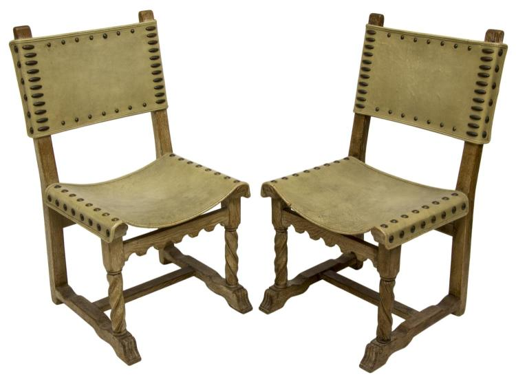 (2) SPANISH BAROQUE STYLE LEATHER SIDE CHAIRS