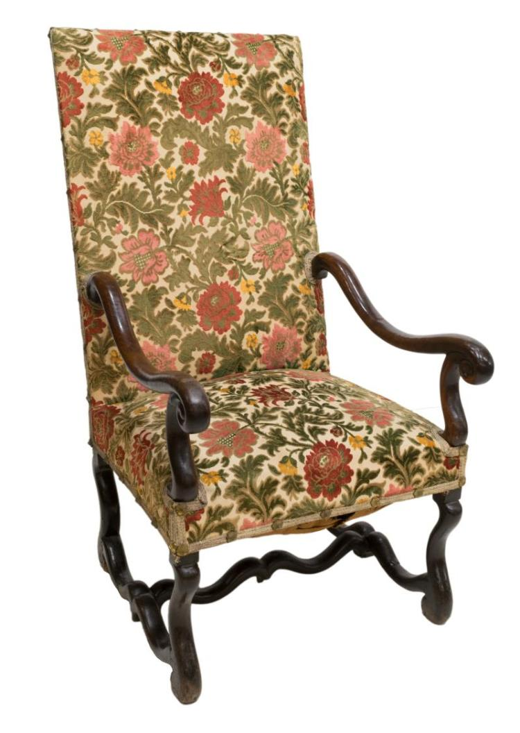 LOUIS XIII STYLE UPHOLSTERED WALNUT ARMCHAIR