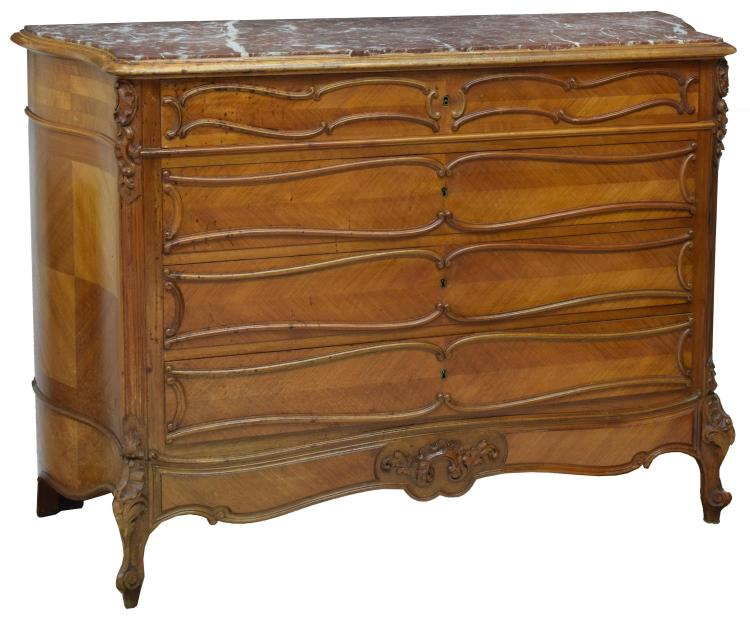 FRENCH LOUIS XV STYLE WALNUT MARBLE TOP COMMODE
