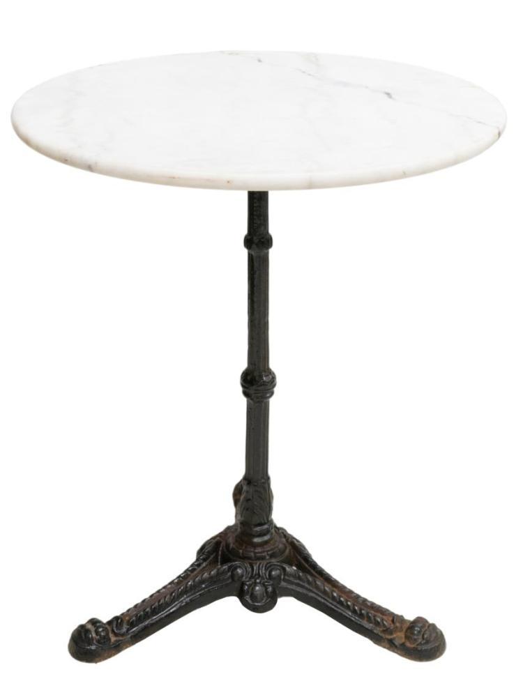 FRENCH PARISIAN MARBLE & IRON BISTRO TABLE