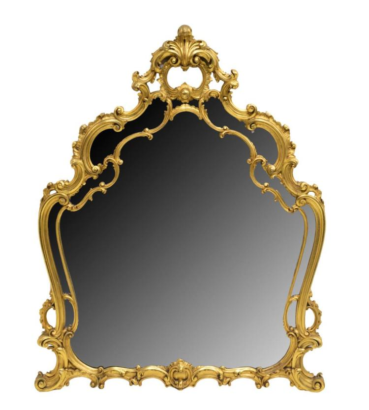 LOUIS XV STYLE PIERCED AND CARVED GILT WALL MIRROR