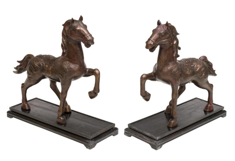 (2) CHINESE PATINATED BRONZE HORSE STATUES W/STAND
