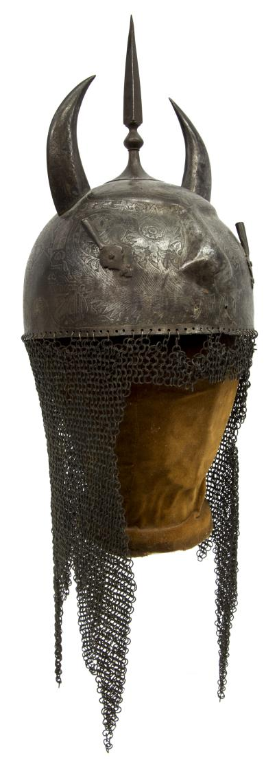 INDO PERSIAN HORNED CHAIN MAIL WARRIOR HELMET