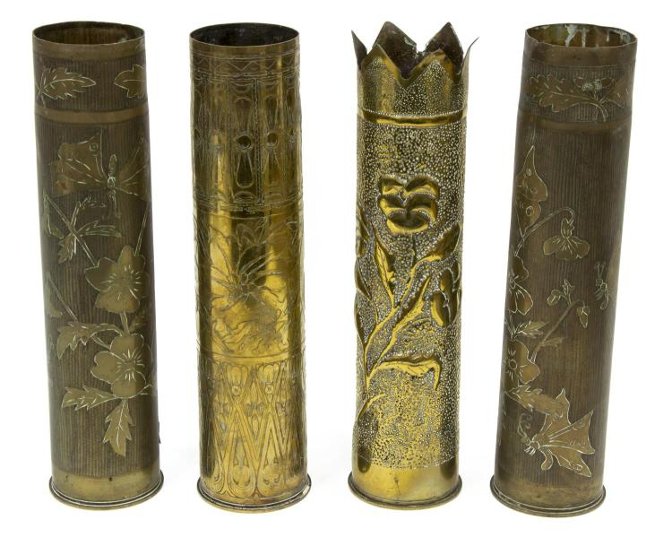 (4) FRENCH WWI ARTILLERY SHELL TRENCH ART VASES