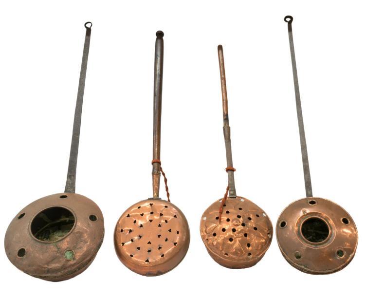 (4) COPPER BED WARMERS, PIERCED PAN, TURNED WOOD