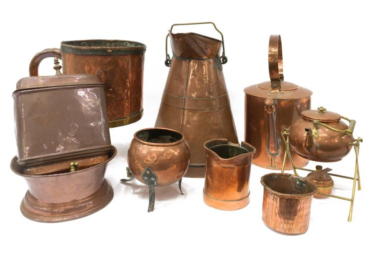 (8) LOT OF HAMMERED COPPER ITEMS, KETTLES, LAVABO