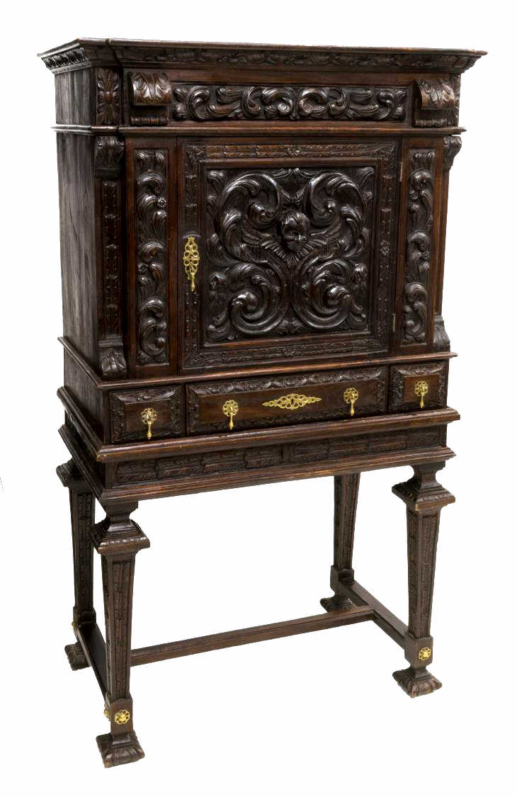 SPANISH RENAISSANCE REVIVAL HEAVILY CARVED CABINET