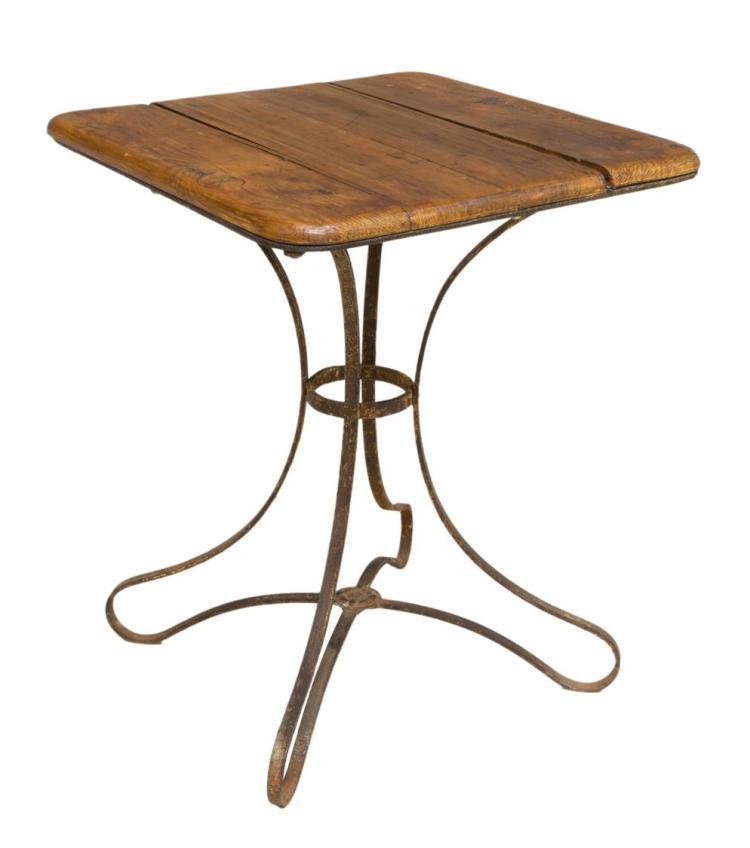 FRENCH CAFE TABLE ON IRON BASE