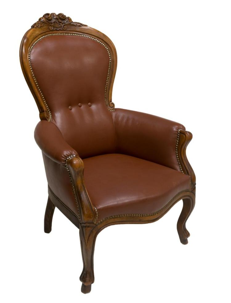 LOUIS XV STYLE LEATHER UPHOLSTERED BERGERE CHAIR