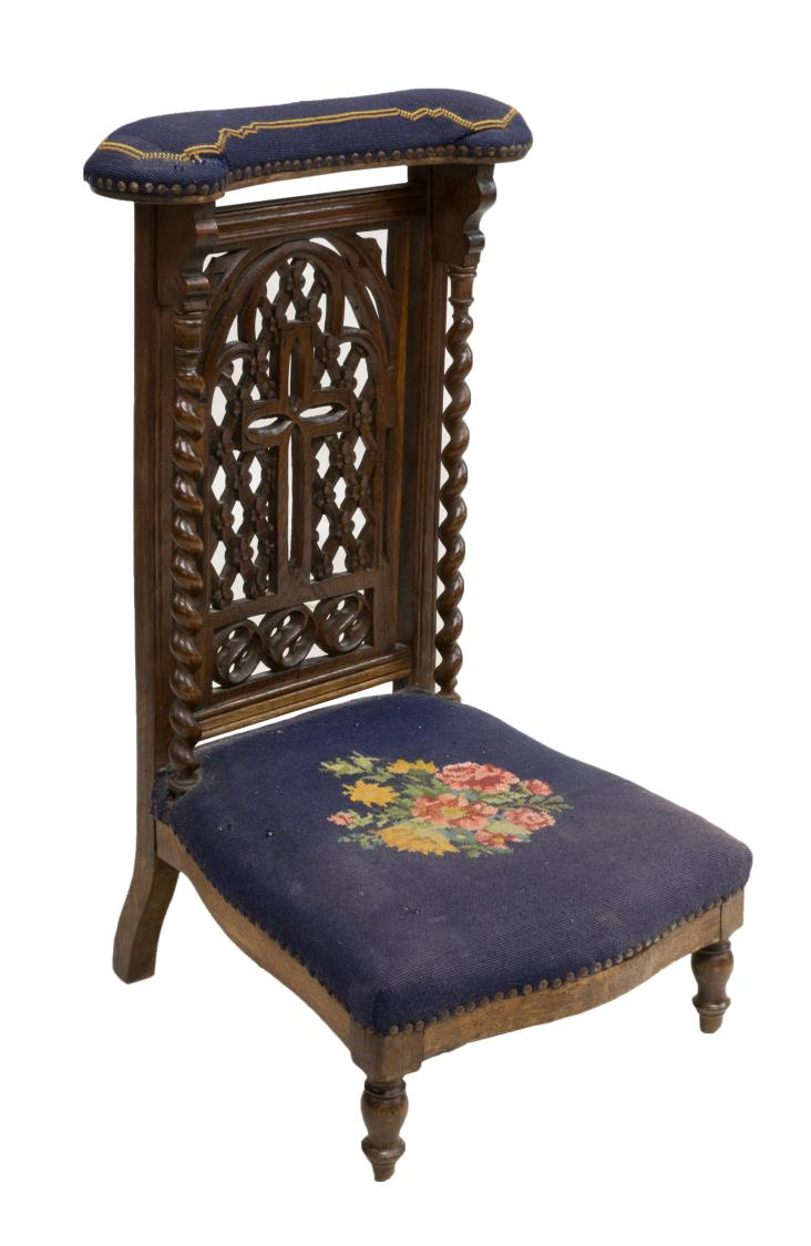 FRENCH CARVED OAK & NEEDLEPOINT PRAYER CHAIR
