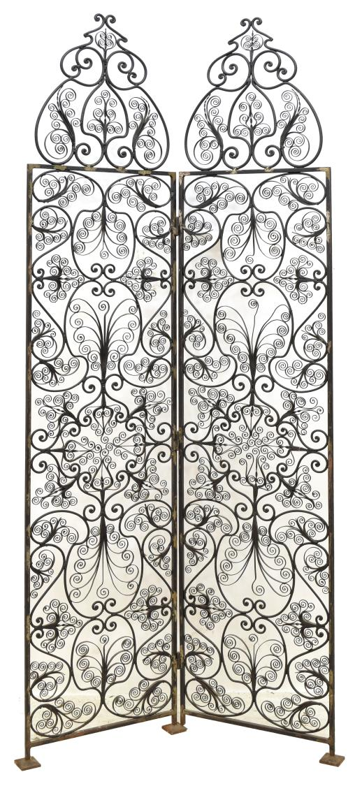 FRENCH SCROLLED WROUGHT IRON 2 PANEL SCREEN