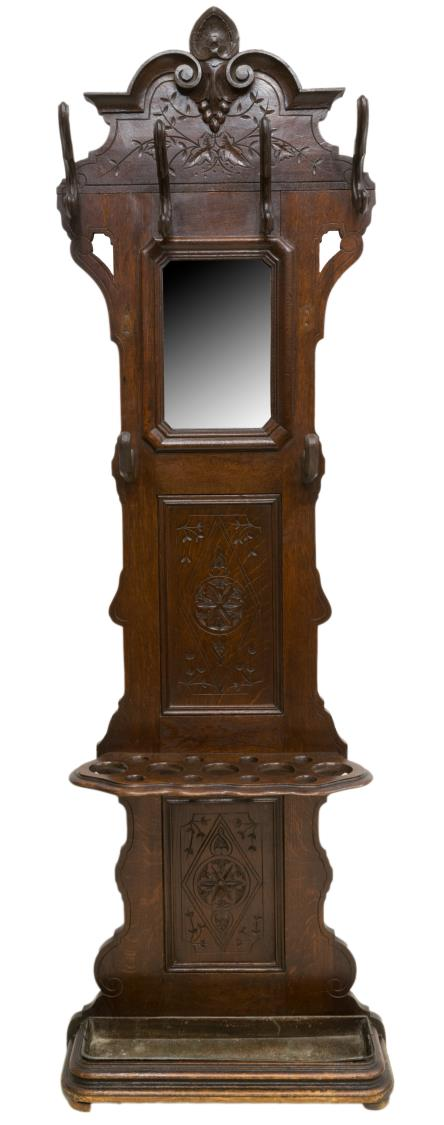 FRENCH CARVED OAK MIRRORED HALL TREE
