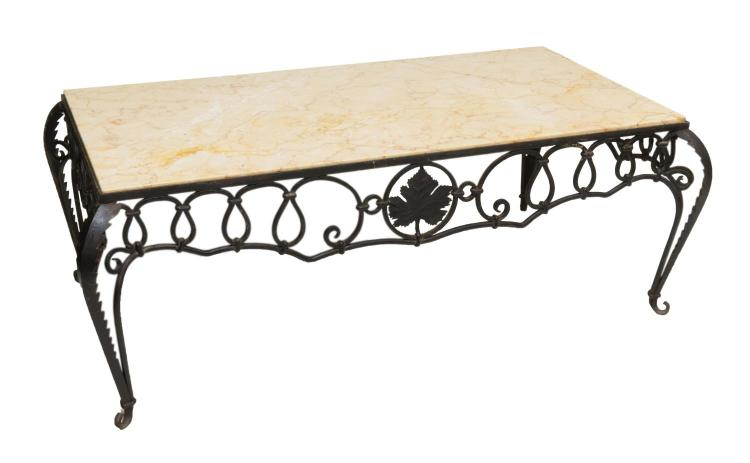 FRENCH WROUGHT IRON AND MARBLE COFFEE TABLE