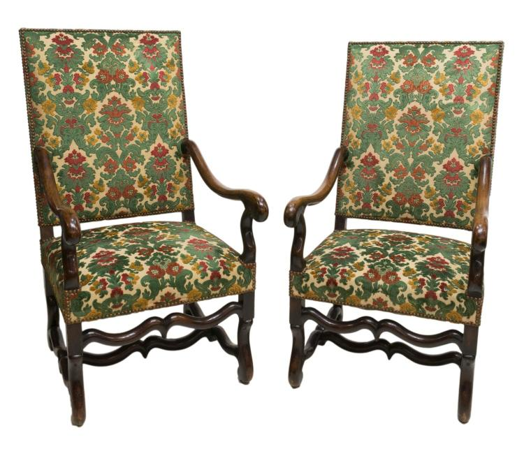 (2) LOUIS XIII STYLE WALNUT UPHOLSTERED ARMCHAIRS