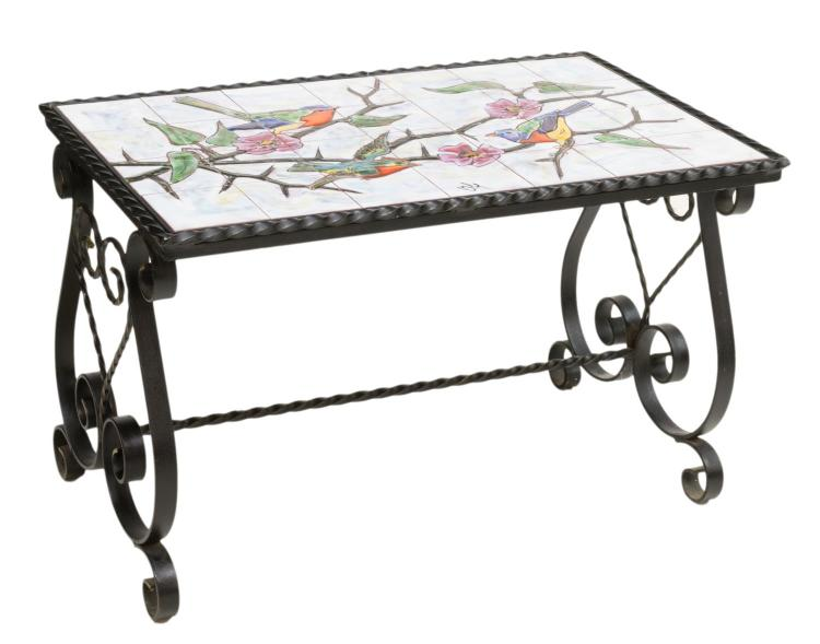 FRENCH WROUGHT IRON TILED COFFEE TABLE, SIGNED