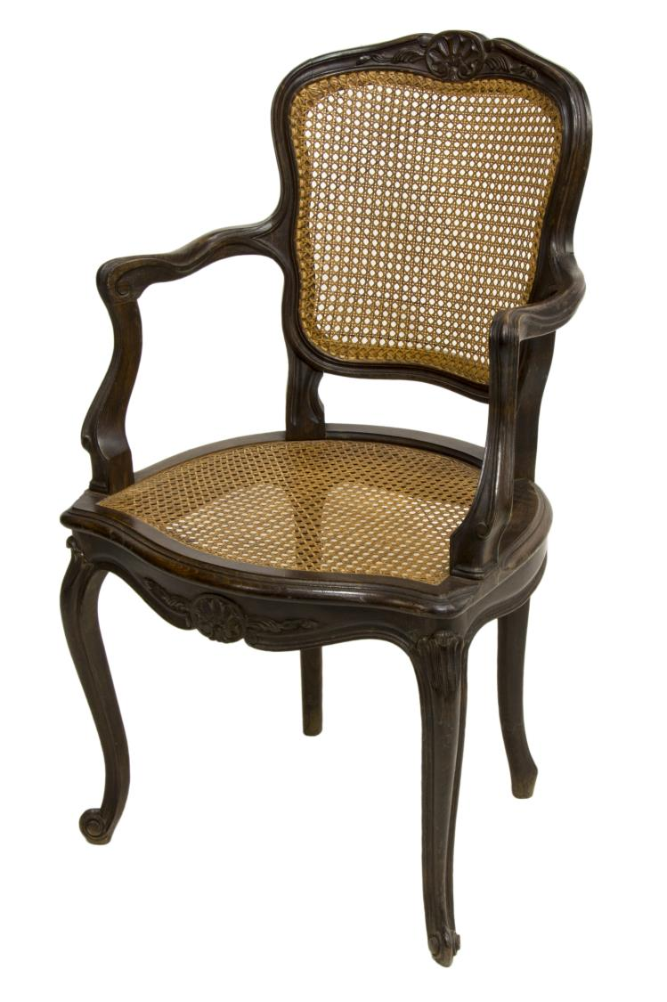 LOUIS XV STYLE CARVED CANED BEECHWOOD FAUTEUIL