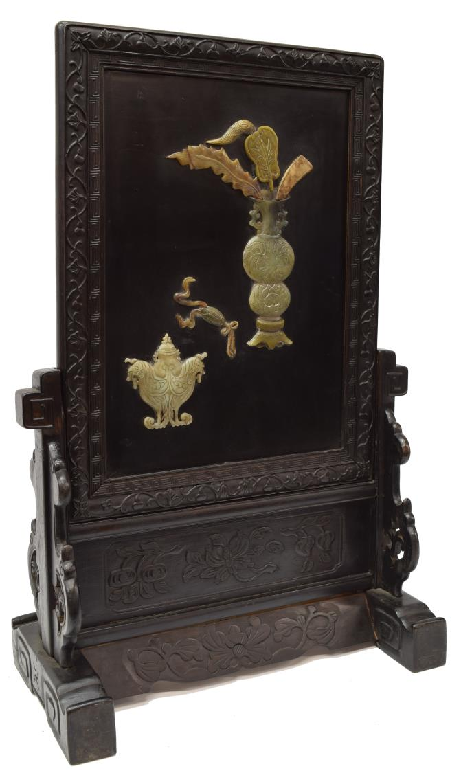 CHINESE EBONIZED HARDWOOD JADE INLAY TABLE SCREEN