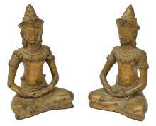 (2) THAI GILT BRONZE SEATED BUDDHA SCULPTURES