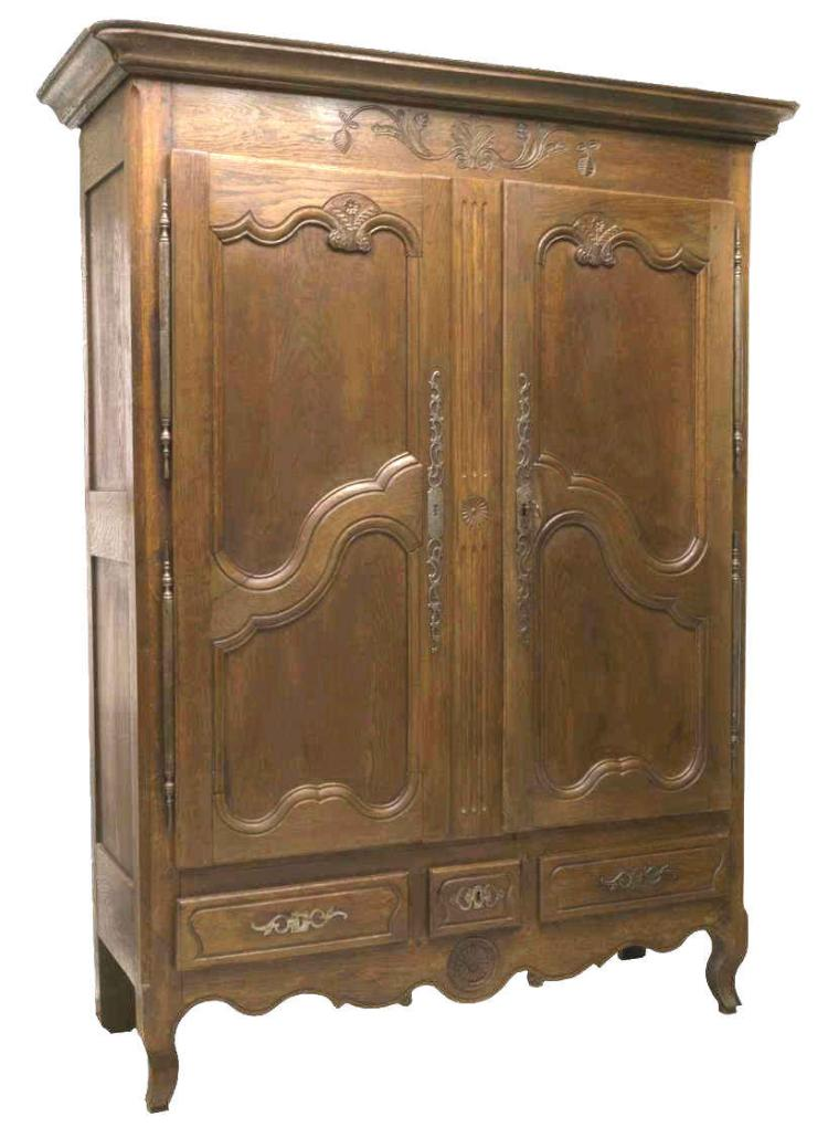 LOUIS XV STYLE FLORAL & FOLIATE CARVED OAK ARMOIRE