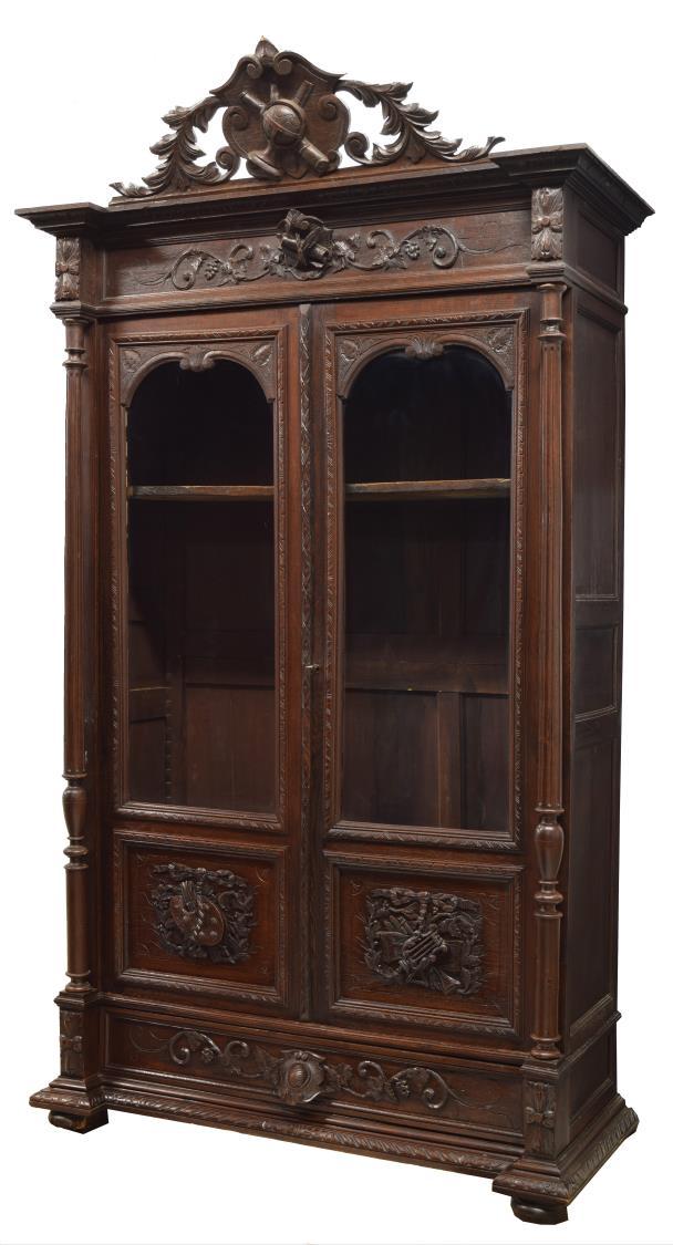 FRENCH LOUIS XVI STYLE DOUBLE DOOR BOOKCASE