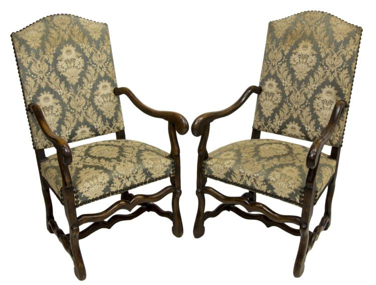 (2) LOUIS XIII STYLE FRUITWOOD ARMCHAIRS, 19TH C.