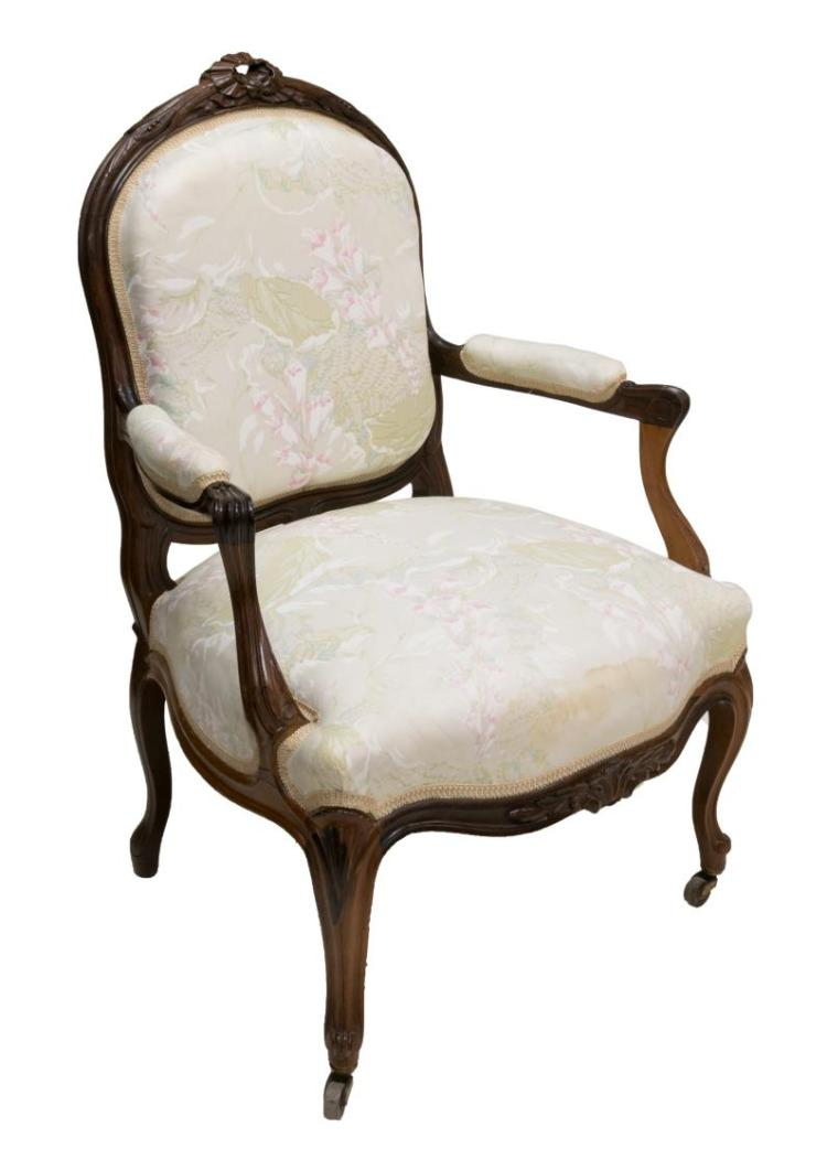 FRENCH LOUIS XV STYLE ROSEWOOD FAUTEUIL ARMCHAIR