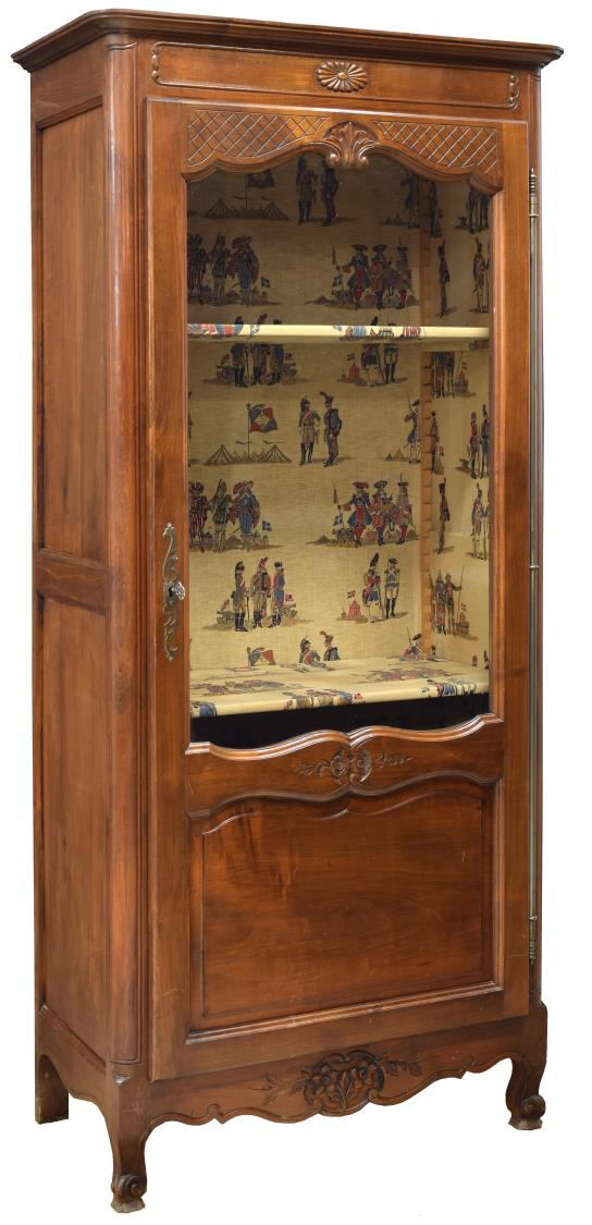 LOUIS XV STYLE FRUITWOOD GLASS FRONT VITRINE