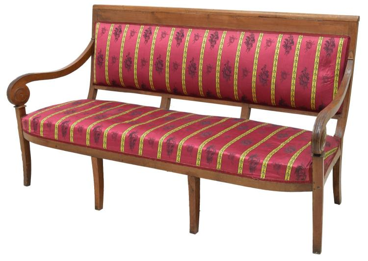LOUIS PHILIPPE WALNUT UPHOLSTERED SOFA, 19TH C.