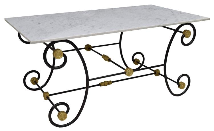 FRENCH PARISIAN MARBLE TOP IRON BAKER'S TABLE
