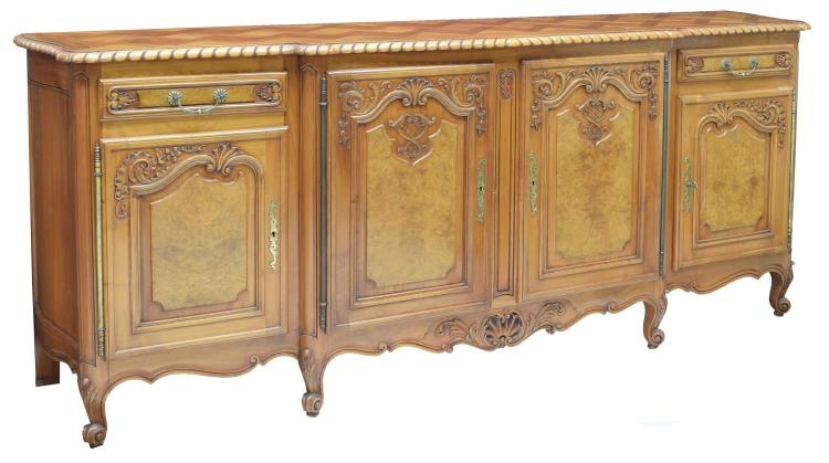 LOUIS XV STYLE CARVED FRUITWOOD/ELM SIDEBOARD
