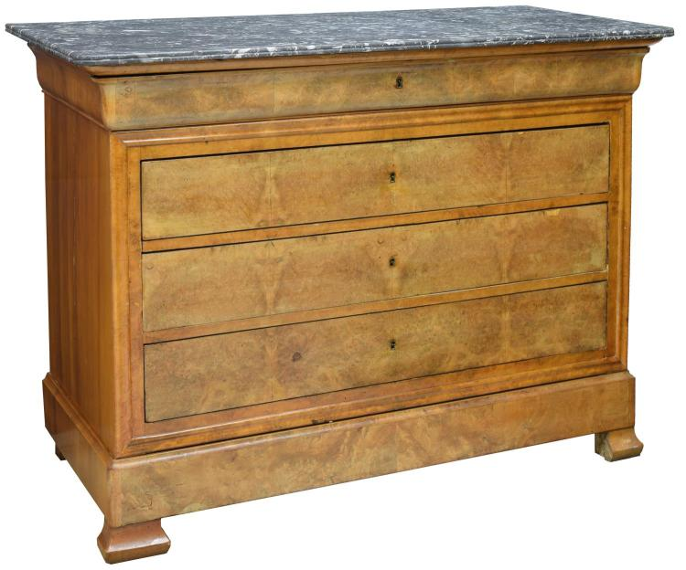 FRENCH CHARLES X MARBLE TOP COMMODE