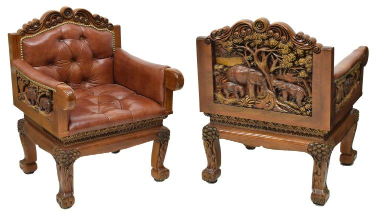 (2) HEAVILY CARVED TEAKWOOD LEATHER ARMCHAIRS