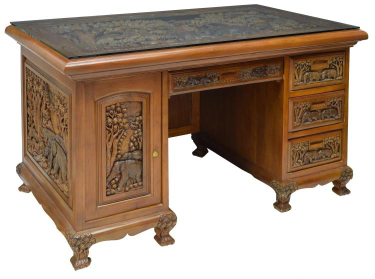 HEAVILY CARVED TEAKWOOD DESK, ANIMAL DESIGN, THAI