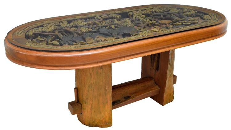 HEAVILY CARVED TEAKWOOD DINING TABLE, ANIMALS