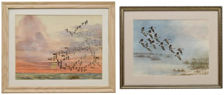 (2)D. HOWLAND (NY, 1920-1999) WATERCOLOR PAINTINGS