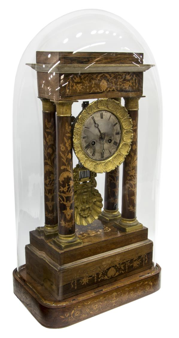 FRENCH NAPOLEON III DOMED ROSEWOOD PORTICO CLOCK
