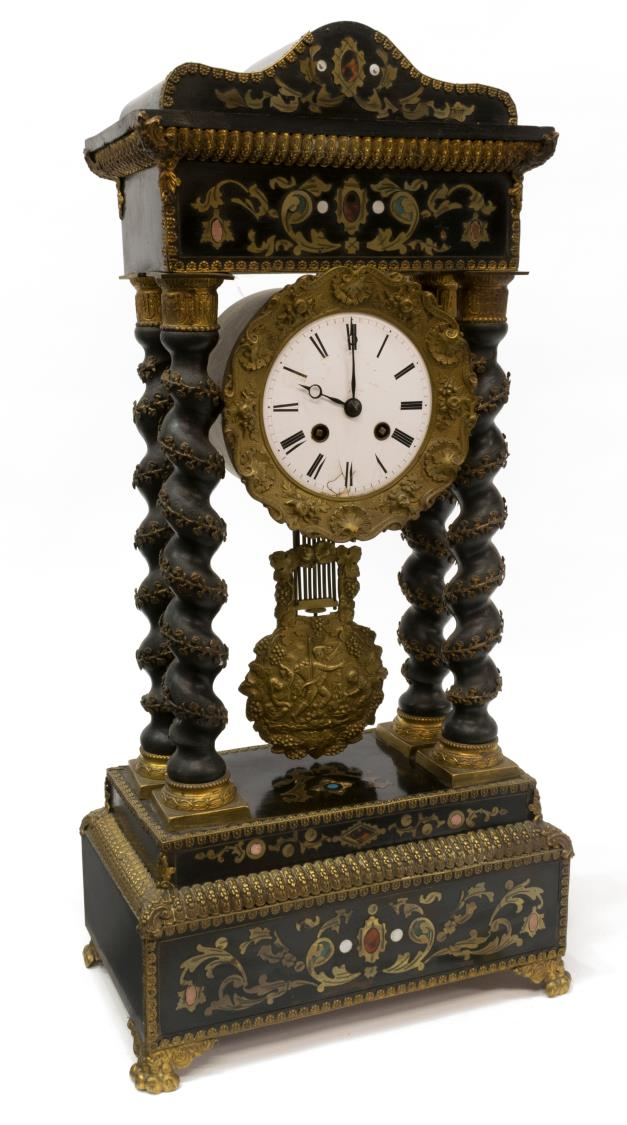 FRENCH PORTICO INLAY & TWIST SUPPORT MANTEL CLOCK